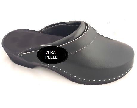 scarpe sportive 3c2e4 18aaa ZOCCOLI SABOT NERI PER UOMO LEGNO E VERA PELLE NERO